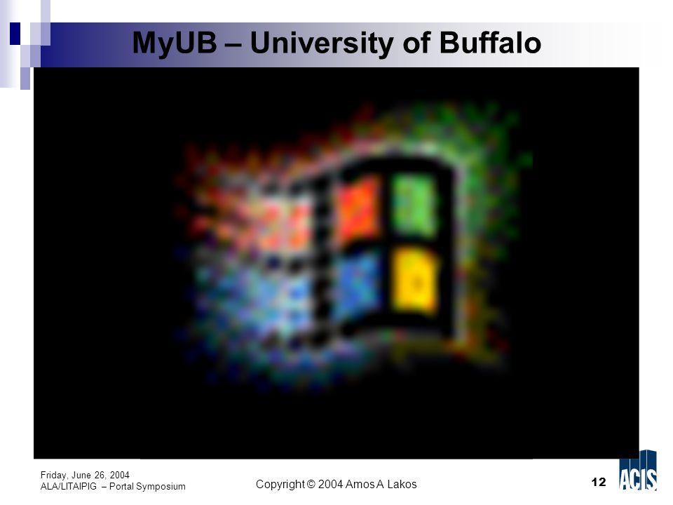 12 Copyright © 2004 Amos A Lakos Friday, June 26, 2004 ALA/LITAIPIG – Portal Symposium MyUB – University of Buffalo