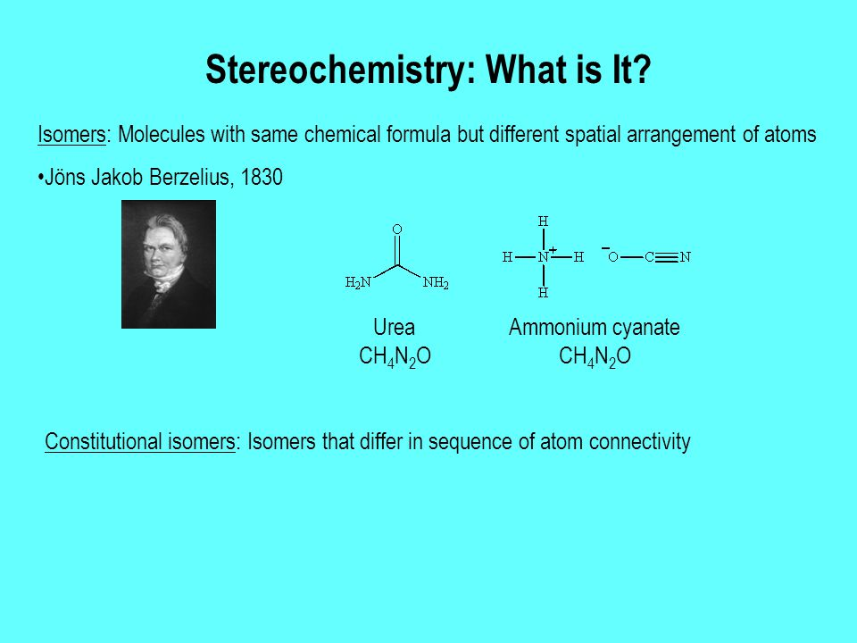 Stereochemistry: What is It? Constitutional isomers: Isomers that differ in sequence of atom connectivity Urea CH 4 N 2 O Ammonium cyanate CH 4 N 2 O