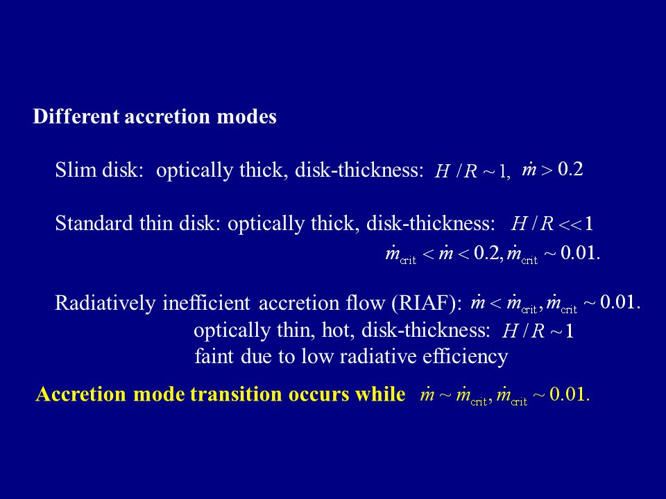 Different accretion modes Slim disk: optically thick, disk-thickness: Standard thin disk: optically thick, disk-thickness: Radiatively inefficient accretion flow (RIAF): optically thin, hot, disk-thickness: faint due to low radiative efficiency Accretion mode transition occurs while