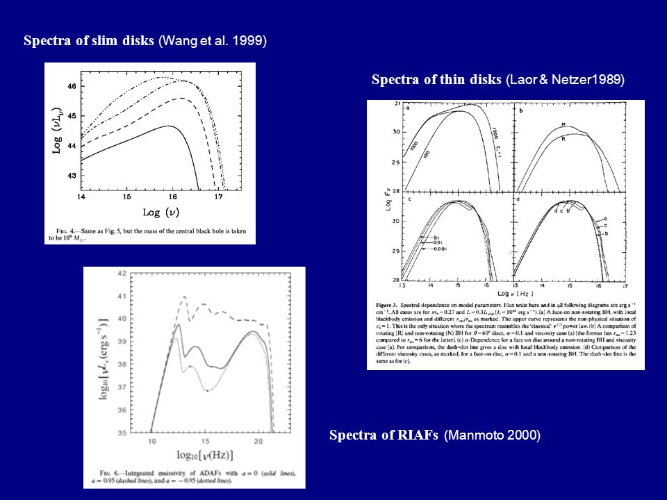 Spectra of slim disks (Wang et al. 1999) Spectra of RIAFs (Manmoto 2000) Spectra of thin disks (Laor & Netzer1989)