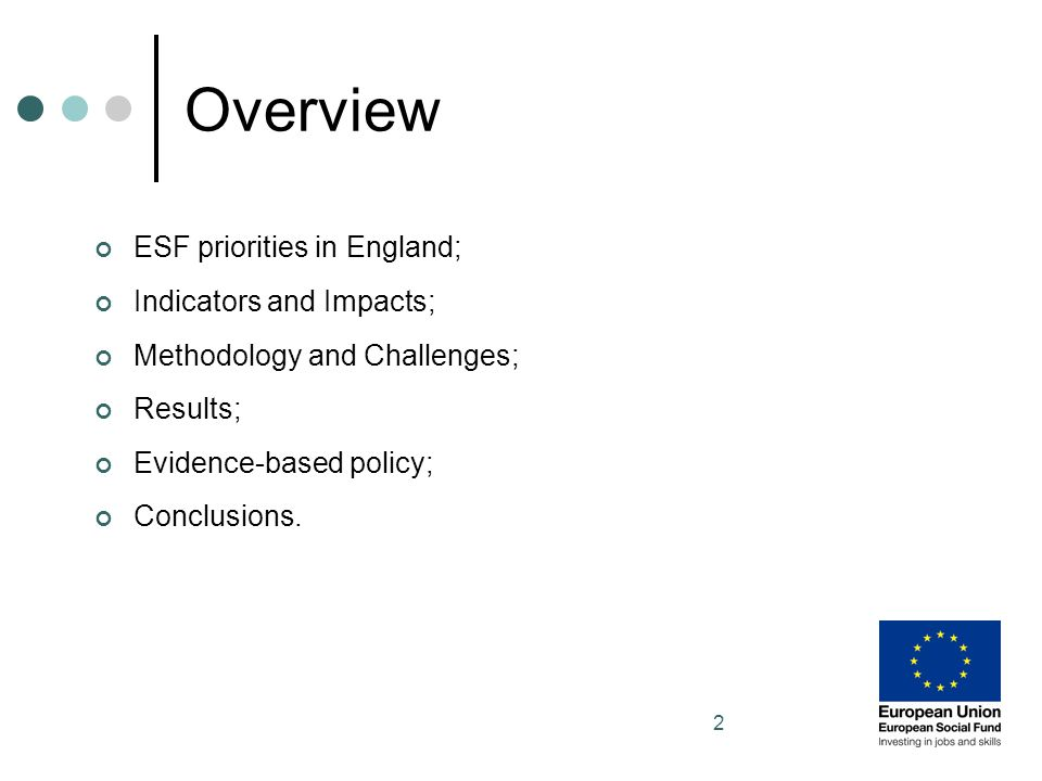 3 ESF in England The 2007-13 Programme Our Impact Study (ESF funded DWP employment provision only) Priorities - Extending employment opportunities; Developing a skilled and adaptable workforce.