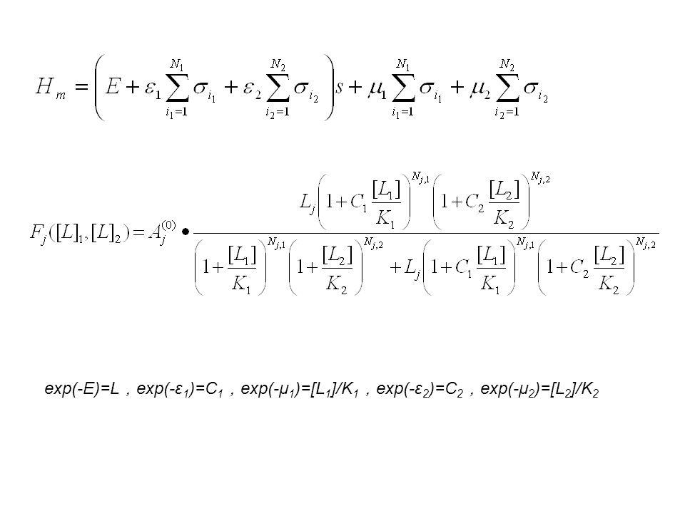 exp(-E)=L , exp(-ε 1 )=C 1 , exp(-μ 1 )=[L 1 ]/K 1 , exp(-ε 2 )=C 2 , exp(-μ 2 )=[L 2 ]/K 2