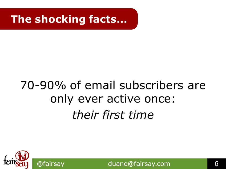 The shocking facts… 70-90% of email subscribers are only ever active once: their first time @fairsay duane@fairsay.com6