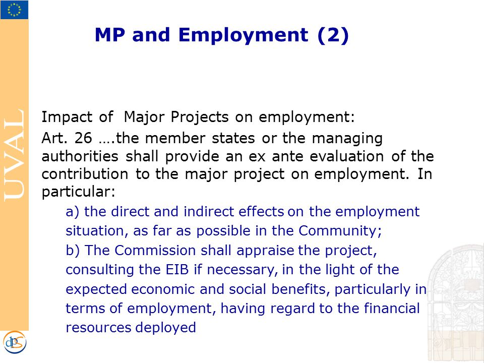 MP and Employment (2) Impact of Major Projects on employment: Art.