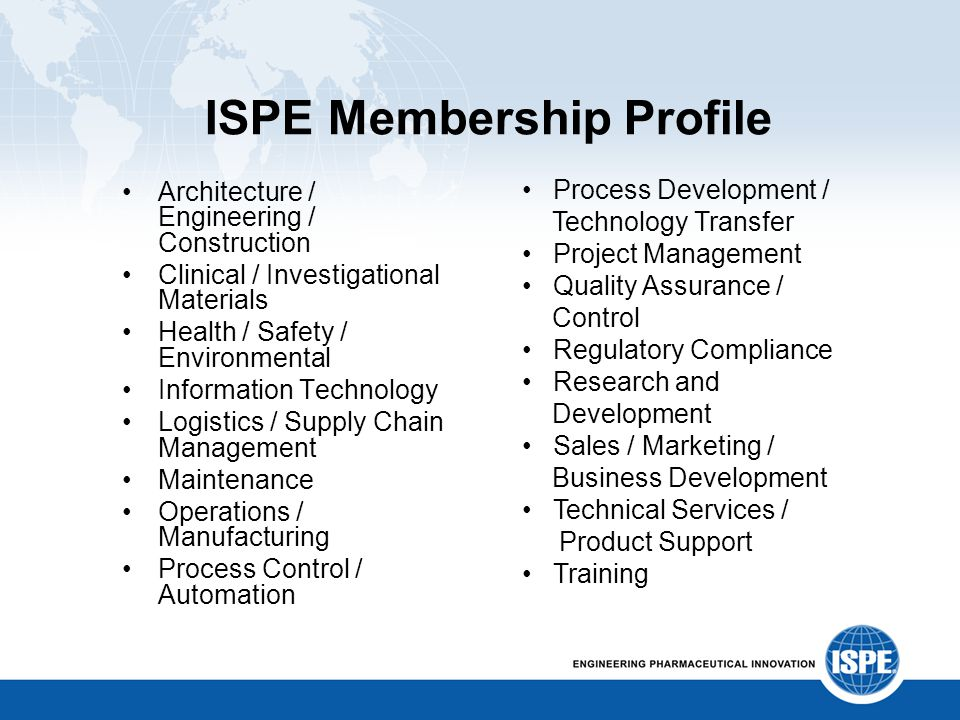 ISPE Membership Profile Architecture / Engineering / Construction Clinical / Investigational Materials Health / Safety / Environmental Information Tec