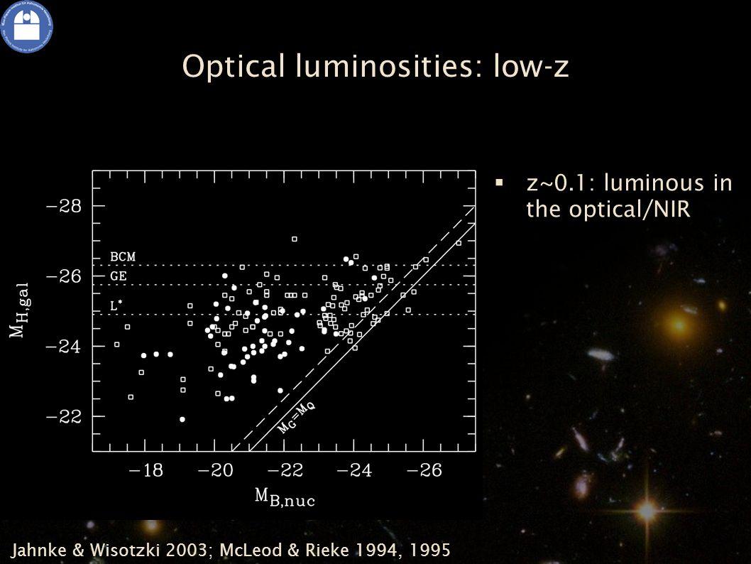 Optical luminosities: low-z Jahnke & Wisotzki 2003; McLeod & Rieke 1994, 1995   z~0.1: luminous in the optical/NIR