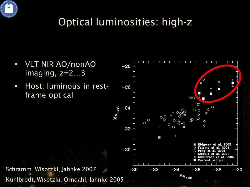 Optical luminosities: high-z  VLT NIR AO/nonAO imaging, z=2…3  Host: luminous in rest- frame optical Schramm, Wisotzki, Jahnke 2007 Kuhlbrodt, Wisotzki, Örndahl, Jahnke 2005