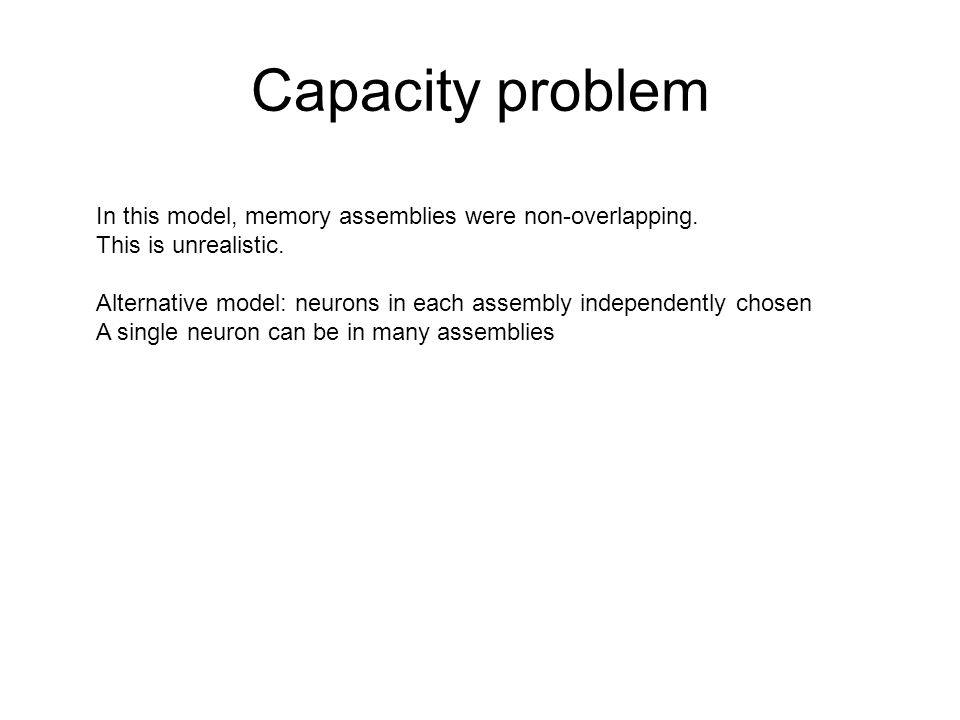 Capacity problem In this model, memory assemblies were non-overlapping.