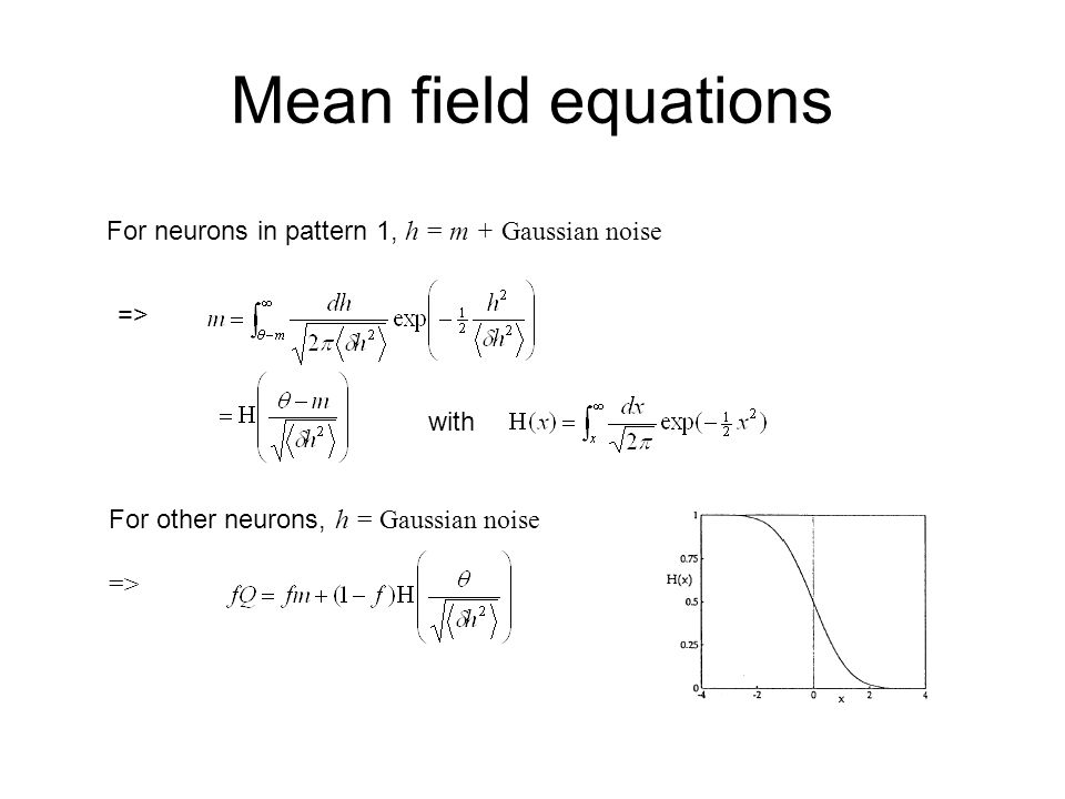 Mean field equations For neurons in pattern 1, h = m + Gaussian noise => with For other neurons, h = Gaussian noise =>