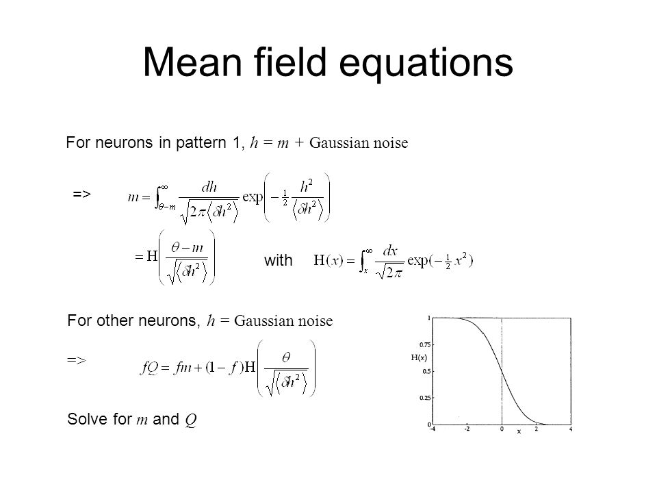 Mean field equations For neurons in pattern 1, h = m + Gaussian noise => with For other neurons, h = Gaussian noise => Solve for m and Q