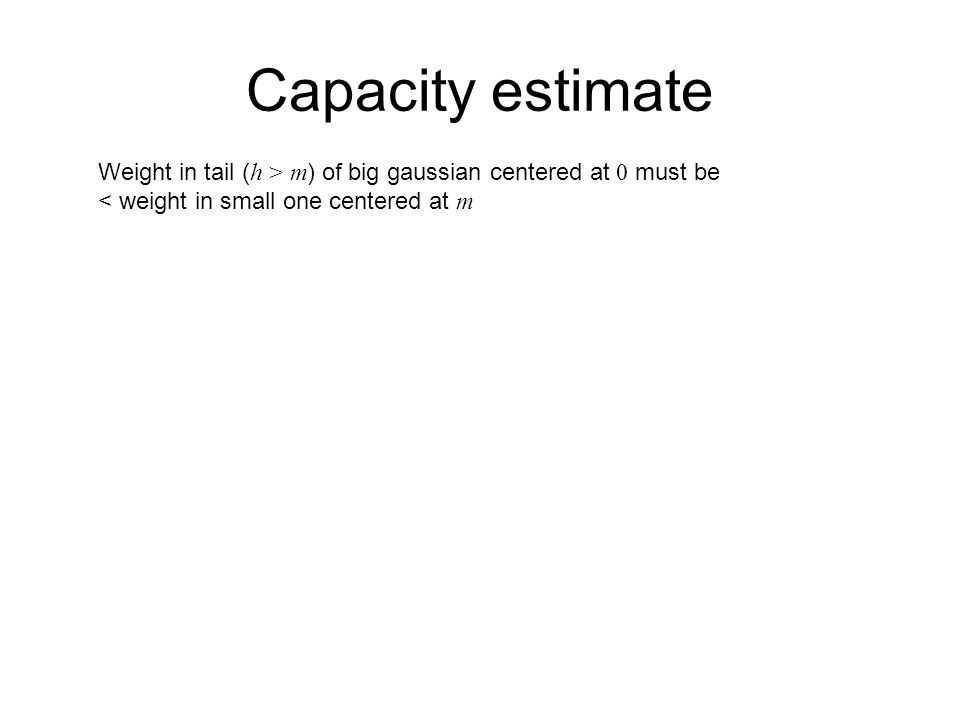 Capacity estimate Weight in tail ( h > m ) of big gaussian centered at 0 must be < weight in small one centered at m