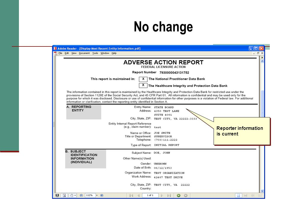 No change Reporter information is current