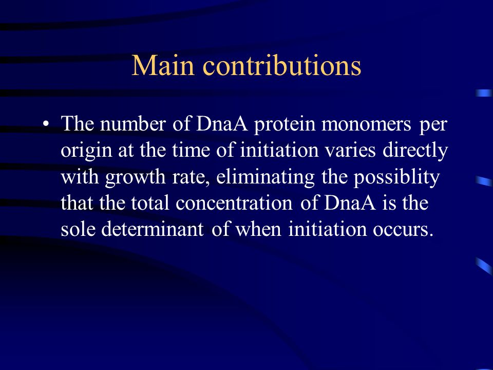 k0k0 Rate of binding DnaA ATP to oriC kdkd Dissociation constant for DnaA ATP from oriC k gs Rate of formation of the consensus sequence along an elongating chromosome.