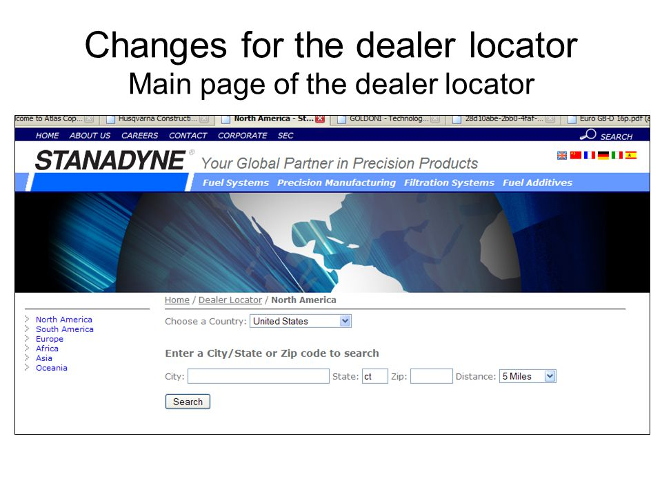Changes for the dealer locator Main page of the dealer locator