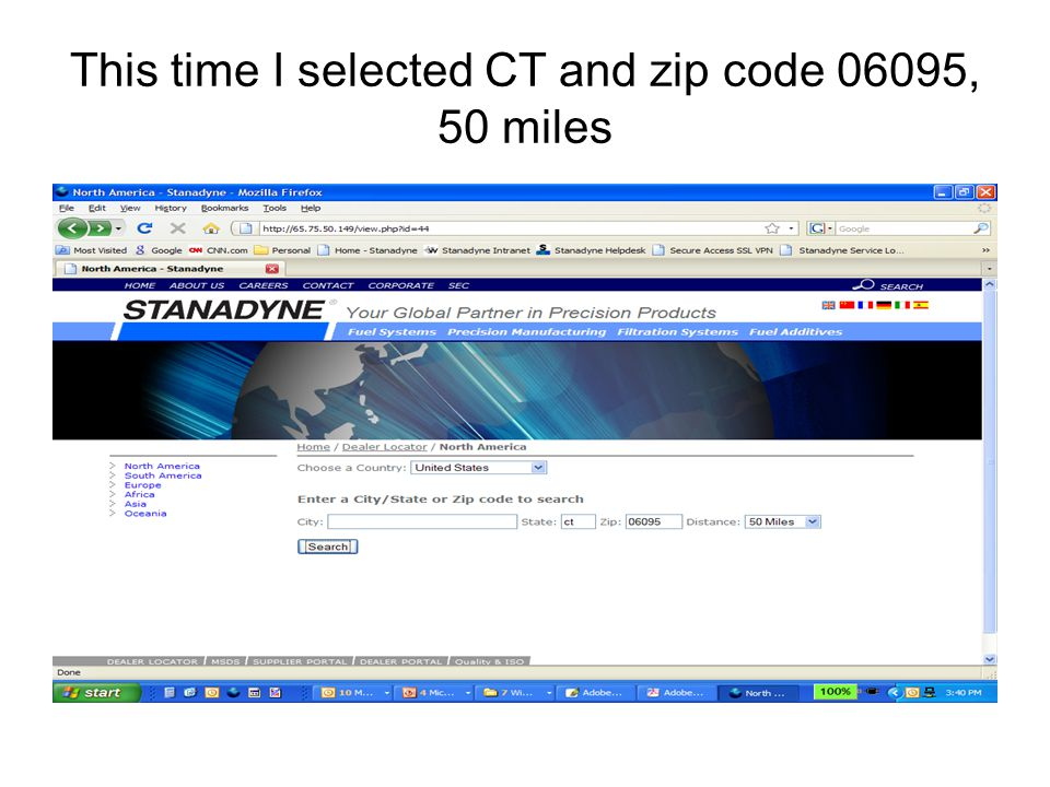 This time I selected CT and zip code 06095, 50 miles