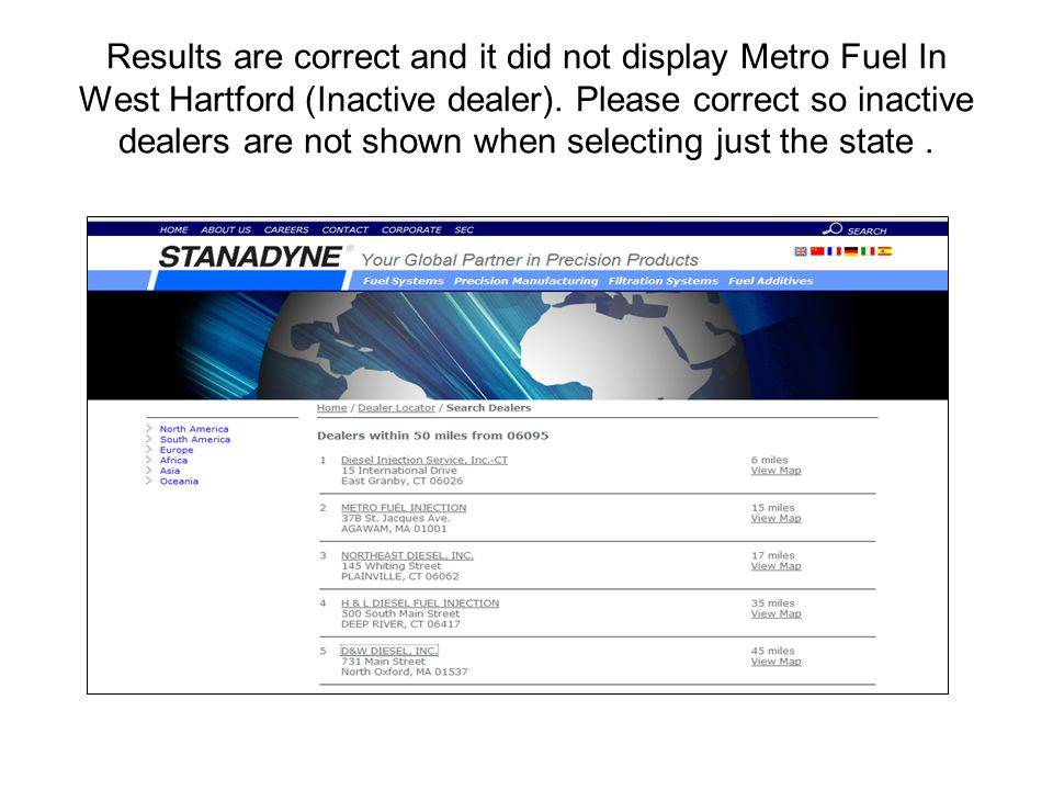 Results are correct and it did not display Metro Fuel In West Hartford (Inactive dealer).