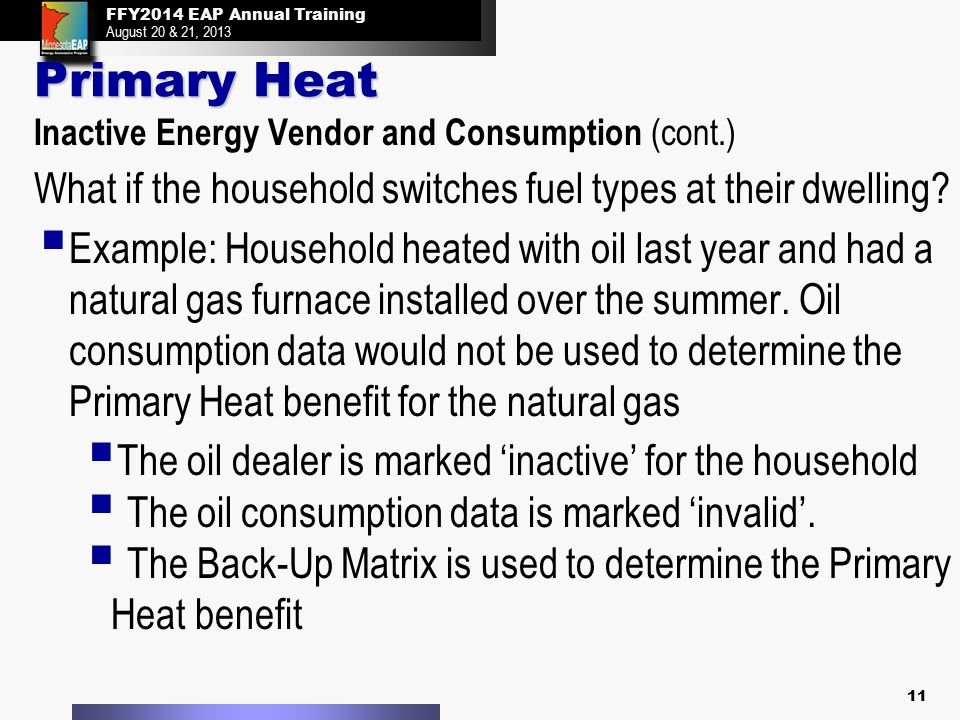 FFY2014 EAP Annual Training August 20 & 21, 2013 FFY2014 EAP Annual Training August 20 & 21, 2013 Primary Heat Inactive Energy Vendor and Consumption