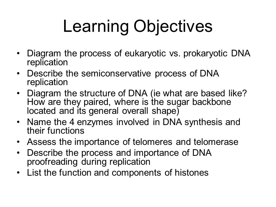Learning Objectives Diagram the process of eukaryotic vs.