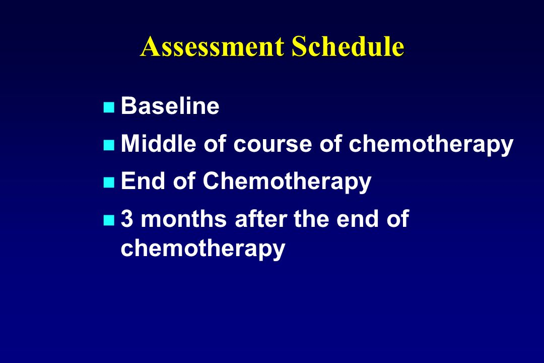 Baseline Middle of course of chemotherapy End of Chemotherapy 3 months after the end of chemotherapy Assessment Schedule