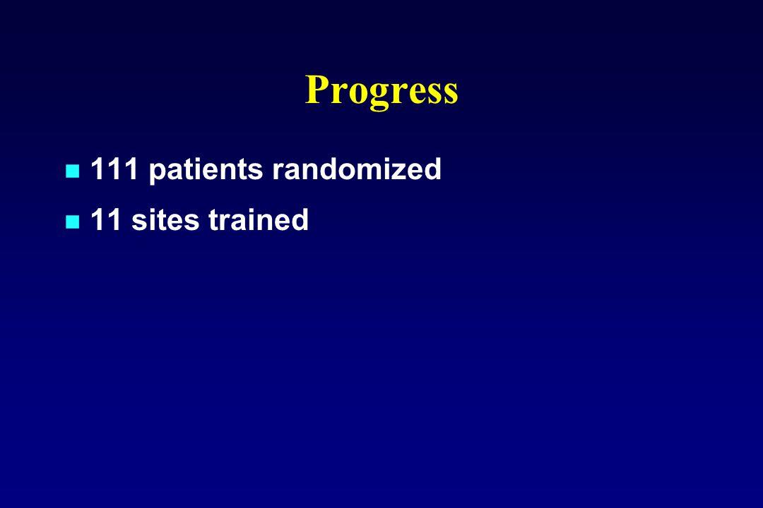 Progress 111 patients randomized 11 sites trained
