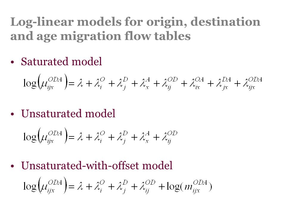 Log-linear models for origin, destination and age migration flow tables Saturated model Unsaturated model Unsaturated-with-offset model