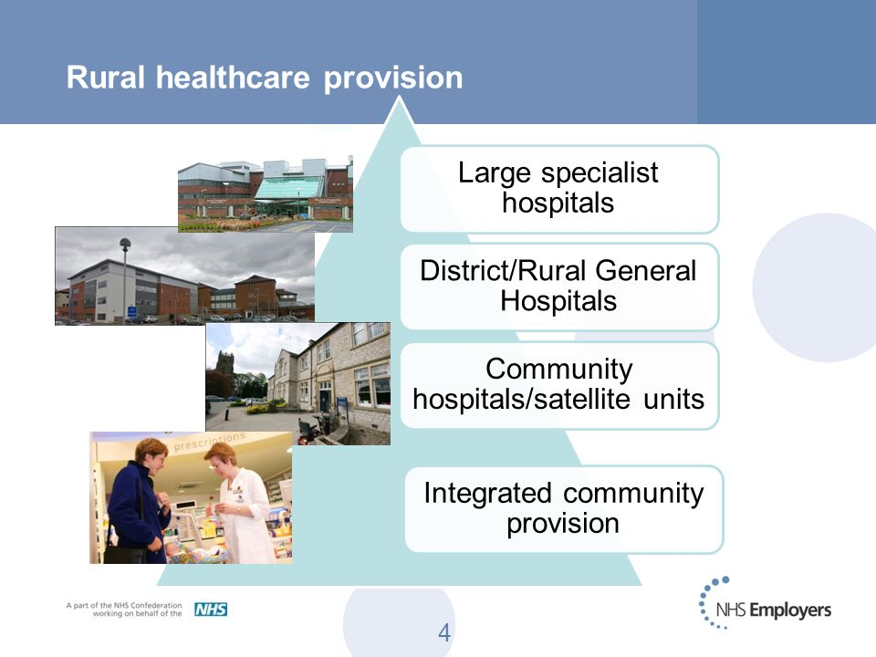 4 Rural healthcare provision Large specialist hospitals District/Rural General Hospitals Community hospitals/satellite units Integrated community prov