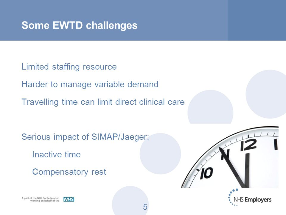 5 Some EWTD challenges Limited staffing resource Harder to manage variable demand Travelling time can limit direct clinical care Serious impact of SIM