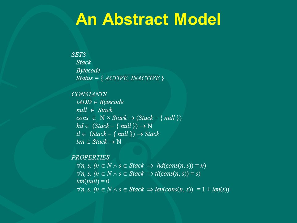 An Abstract Model SETS Stack Bytecode Status = { ACTIVE, INACTIVE } CONSTANTS iADD  Bytecode null  Stack cons  N × Stack  (Stack – { null }) hd 