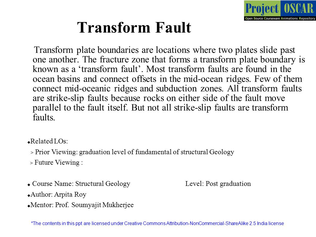 Transform Fault Transform plate boundaries are locations where two plates slide past one another.