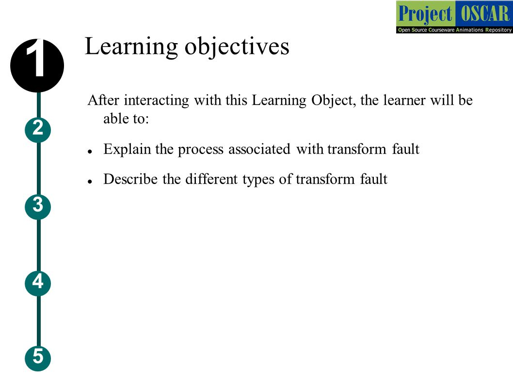 Learning objectives 5 3 2 4 1 After interacting with this Learning Object, the learner will be able to: Explain the process associated with transform fault Describe the different types of transform fault