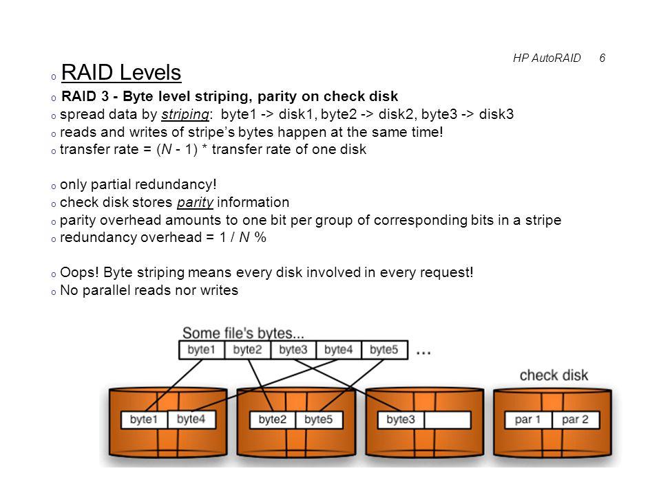 HP AutoRAID 7 o Parity o parity is computed using XOR ( ^ ):