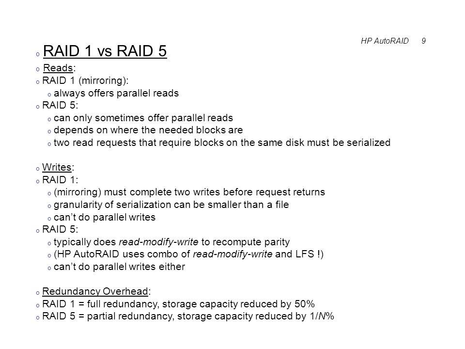 HP AutoRAID 10 o Storage Hierarchy = HP AutoRAID o RAID 1 = fast reads and writes, but 50% redundancy overhead o RAID 5 = strong reads, slow writes, 1/N% storage overhead o RAID 1 is fast but expensive, like a cache.
