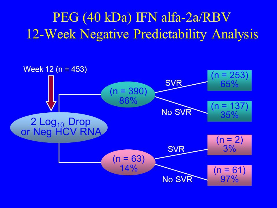 PEG (40 kDa) IFN alfa-2a/RBV 12-Week Negative Predictability Analysis (n = 390) 86% (n = 63) 14% 2 Log 10 Drop or Neg HCV RNA Yes No Week 12 (n = 453) (n = 253) 65% SVR (n = 137) 35% (n = 2) 3% SVR (n = 61) 97% No SVR No SVR HCV = hepatitis C virus; RNA = ribonucleic acid; SVR = sustained virologic response.