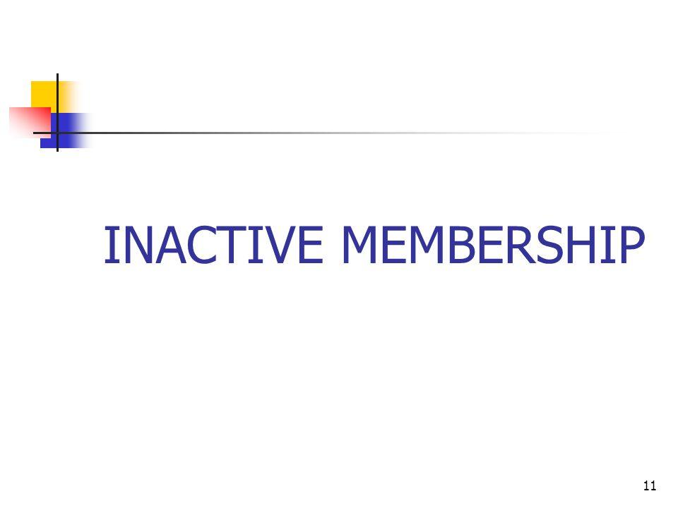 11 INACTIVE MEMBERSHIP