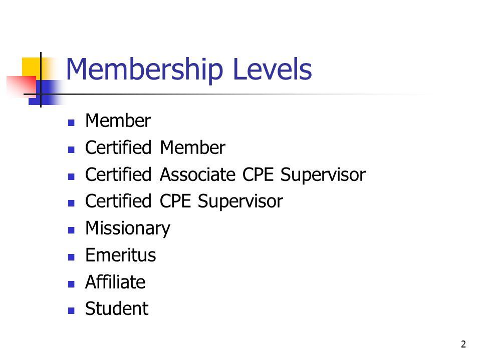 2 Membership Levels Member Certified Member Certified Associate CPE Supervisor Certified CPE Supervisor Missionary Emeritus Affiliate Student