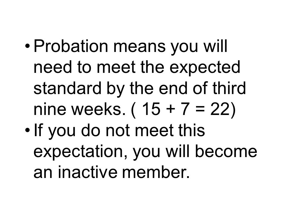 Probation means you will need to meet the expected standard by the end of third nine weeks.