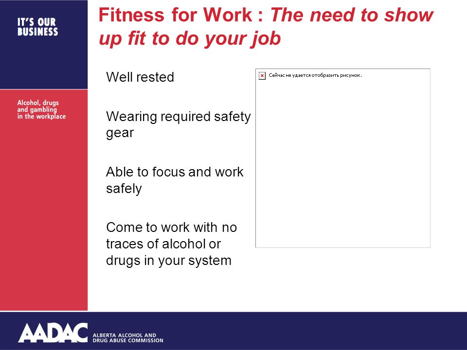 Fitness for Work : The need to show up fit to do your job Well rested Wearing required safety gear Able to focus and work safely Come to work with no