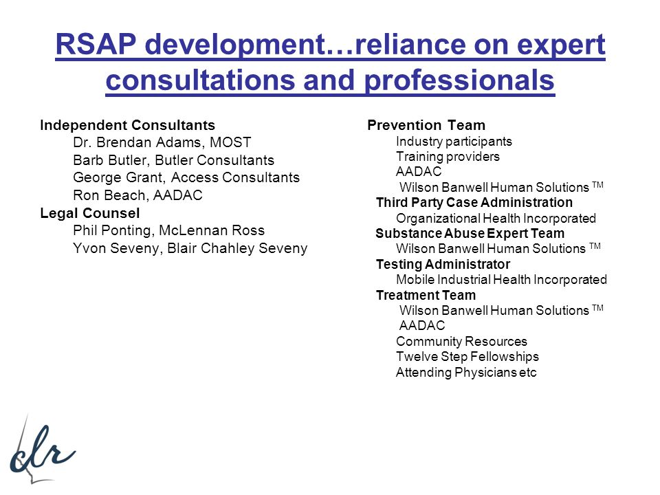 RSAP development…reliance on expert consultations and professionals Independent Consultants Dr. Brendan Adams, MOST Barb Butler, Butler Consultants Ge