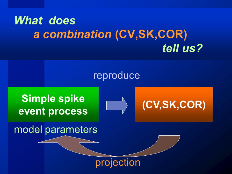 What does a combination (CV,SK,COR) tell us.