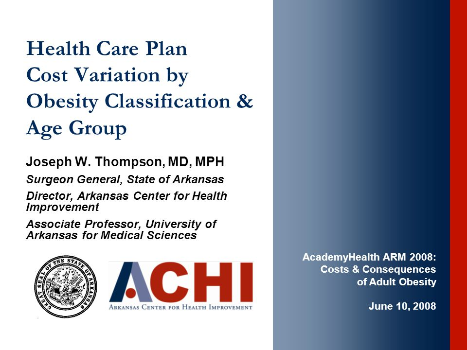 Health Care Plan Cost Variation by Obesity Classification & Age Group Joseph W.