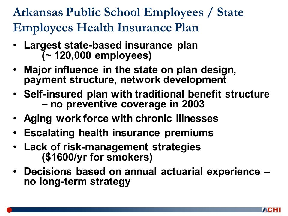 Arkansas Public School Employees / State Employees Health Insurance Plan Largest state-based insurance plan (~ 120,000 employees) Major influence in the state on plan design, payment structure, network development Self-insured plan with traditional benefit structure – no preventive coverage in 2003 Aging work force with chronic illnesses Escalating health insurance premiums Lack of risk-management strategies ($1600/yr for smokers) Decisions based on annual actuarial experience – no long-term strategy