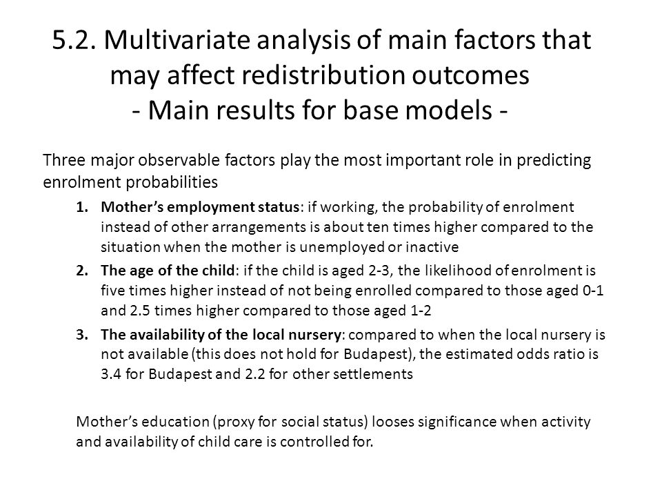 5.2. Multivariate analysis of main factors that may affect redistribution outcomes - Main results for base models - Three major observable factors pla