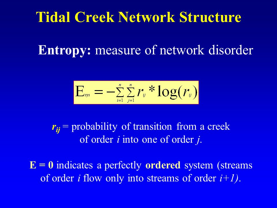 Tidal Creek Network Structure Entropy: measure of network disorder r ij = probability of transition from a creek of order i into one of order j.