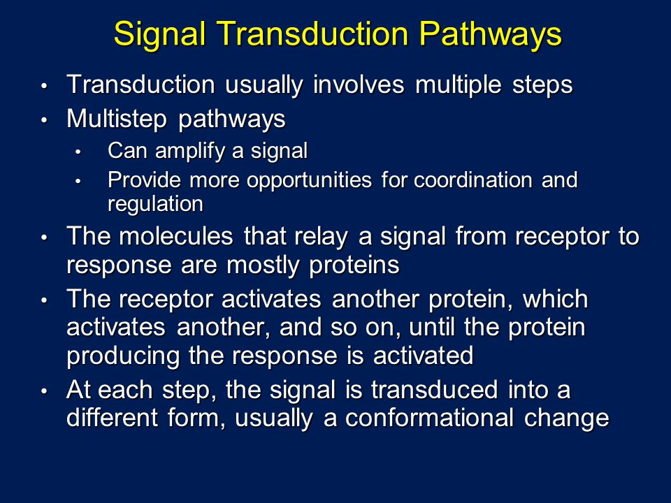 Signal Transduction Pathways Transduction usually involves multiple steps Transduction usually involves multiple steps Multistep pathways Multistep pathways Can amplify a signal Can amplify a signal Provide more opportunities for coordination and regulation Provide more opportunities for coordination and regulation The molecules that relay a signal from receptor to response are mostly proteins The molecules that relay a signal from receptor to response are mostly proteins The receptor activates another protein, which activates another, and so on, until the protein producing the response is activated The receptor activates another protein, which activates another, and so on, until the protein producing the response is activated At each step, the signal is transduced into a different form, usually a conformational change At each step, the signal is transduced into a different form, usually a conformational change