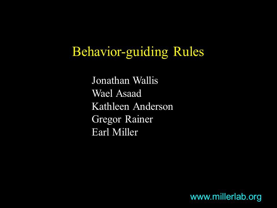 Behavior-guiding Rules Jonathan Wallis Wael Asaad Kathleen Anderson Gregor Rainer Earl Miller www.millerlab.org
