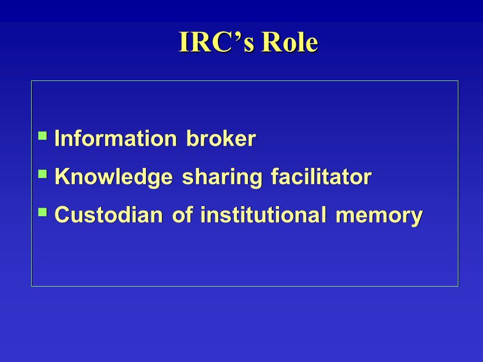  Information broker  Knowledge sharing facilitator  Custodian of institutional memory  Information broker  Knowledge sharing facilitator  Custodian of institutional memory IRC's Role