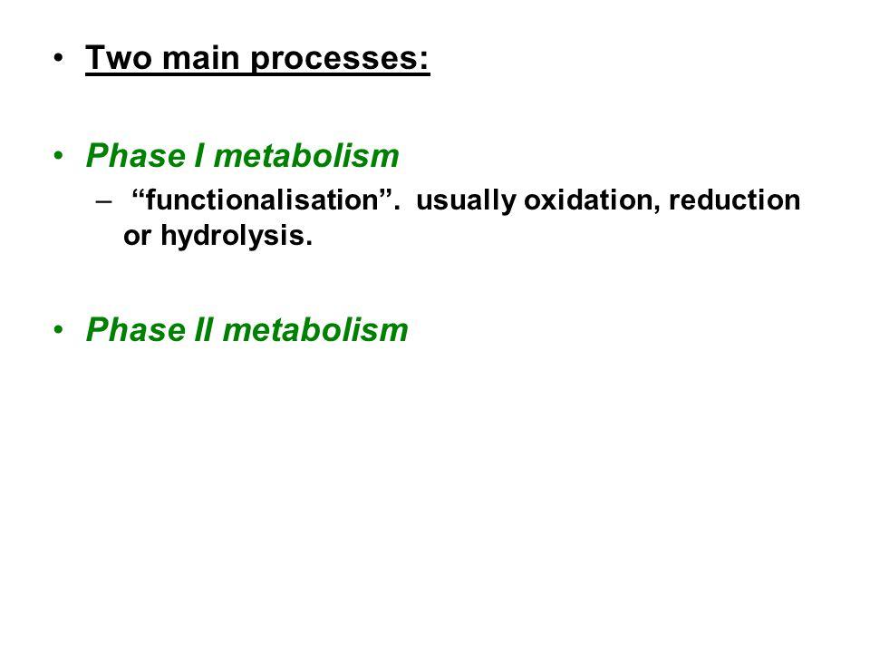 Two main processes: Phase I metabolism – functionalisation .