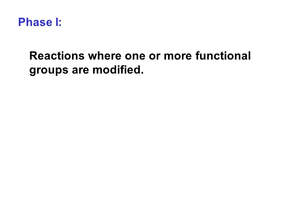 Phase I: Reactions where one or more functional groups are modified.