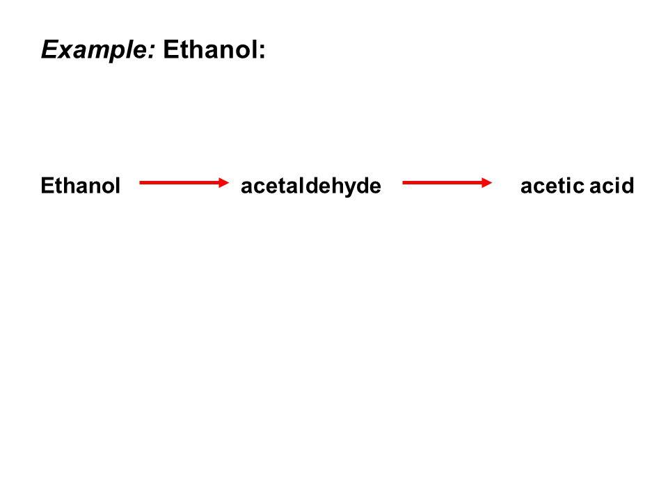 Example: Ethanol: Ethanol acetaldehyde acetic acid