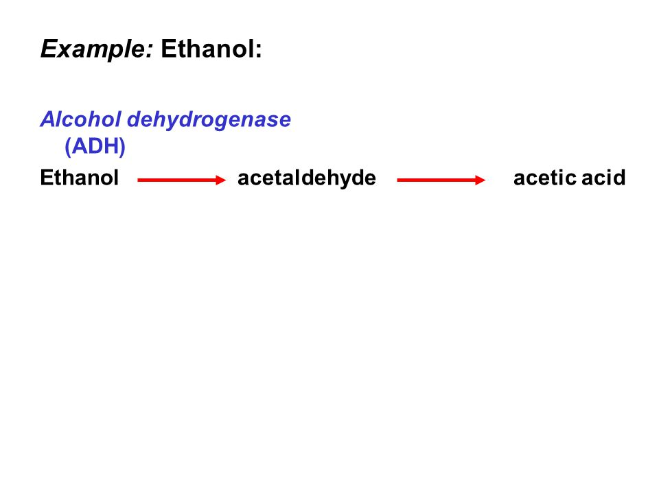 Example: Ethanol: Alcohol dehydrogenase (ADH) Ethanol acetaldehyde acetic acid